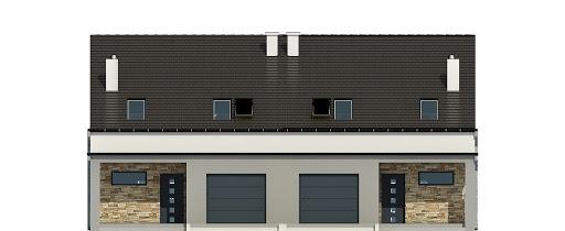 Mazurek z garażem 1-st. bliźniak A-BL1 - Elewacja przednia