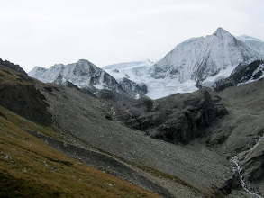 Photo: As we round the bend, Mt Blanc de Cheilon and its glacier dominate the scene (12,696 ft / 3870 m)