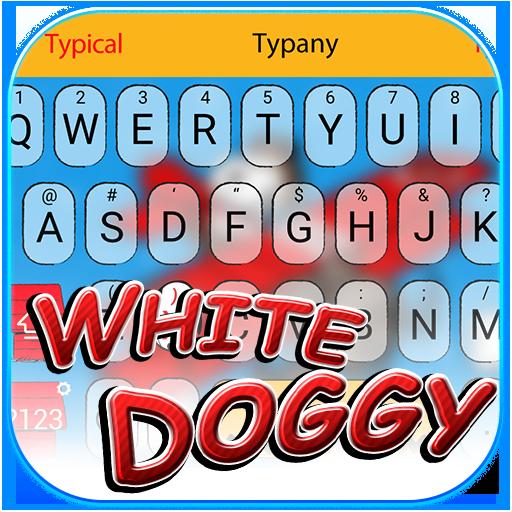 White Doggy Theme&Emoji Keyboard