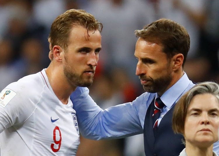 England manager Gareth Southgate with Harry Kane at the end of the match.