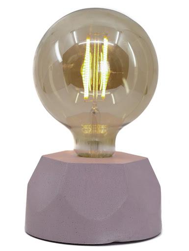 lampe en béton rose pastel design héxagone création  fait-main en atelier français par la créatrice Junny