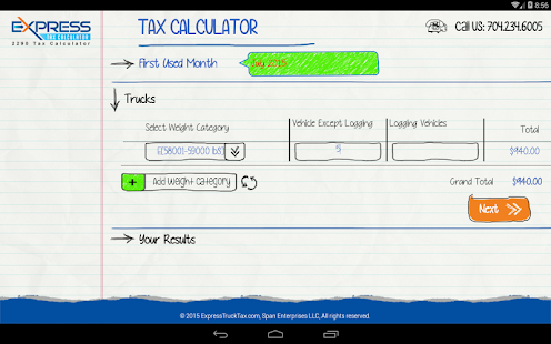 Form 2290 HVUT Tax Calculator- screenshot thumbnail