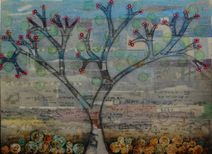 """Photo: Doodles in Math Class, 22 x 30"""", mixed media collage"""