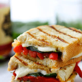 Roasted Red Pepper and Pesto Grilled Cheese Sandwiches.