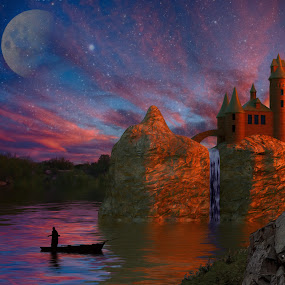 Night Castle by Charlie Alolkoy - Illustration Places ( water, moon, stars, sunset, waterfall, cliff, lake, castle )