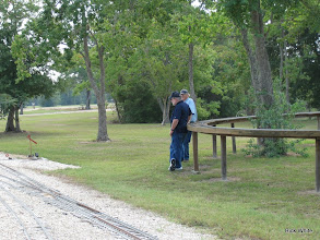 Photo: Talking signals while watching trains.  HALS RPW  2009-0905