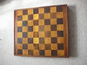 Photo: CH203: English Victorian mahogany board, 2in squares, with backgammon board on the interior  A lager verson of CH10, above.