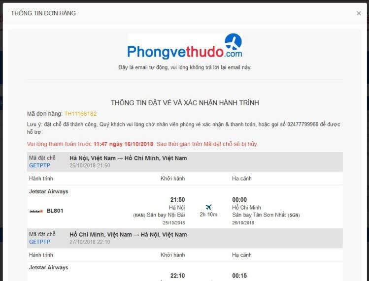 chi tiết đơn vé máy bay
