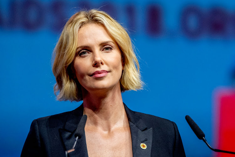 Charlize Theron speaking during the International Aids Conference on July 24 2018 in Amsterdam, Netherlands.