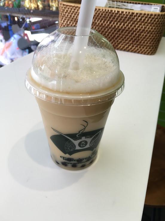 Black Milk Tea with Tapioca Pearls.