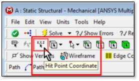 ANSYS Кнопка для выбора произвольных точек на гранях модели (Hit Point Coordinate)