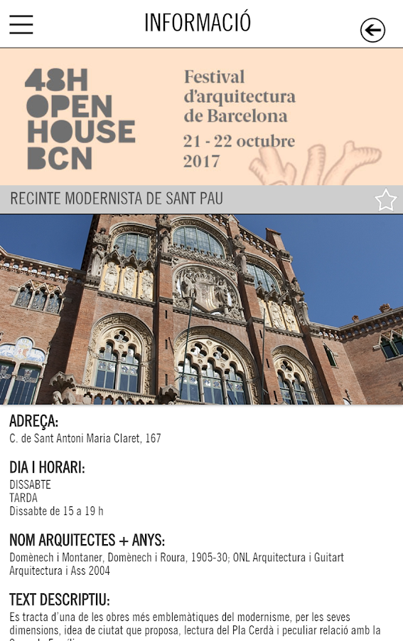 48H Open House BCN 2017: captura de pantalla