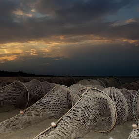Fisherman's nets by Alin Miu - Landscapes Waterscapes ( fisherman tools, waterscape, sunset, fish, fishing, beach )