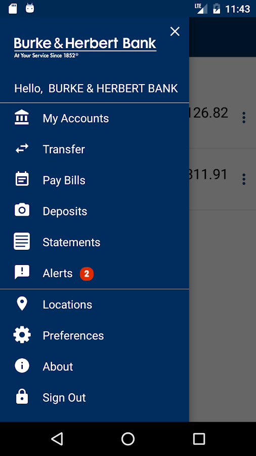 Burke & Herbert Bank Mobile- screenshot