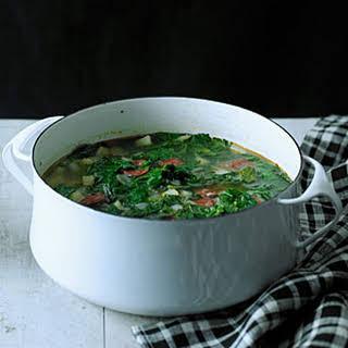 Red Russian Kale and Chorizo Soup (Caldo Verde).