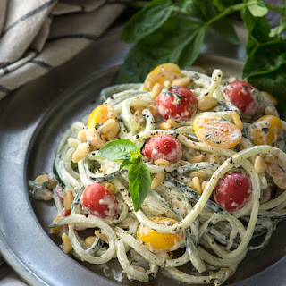 Easy Cucumber Noodles with a Vegan Basil Cream, Tomatoes and Pine Nuts