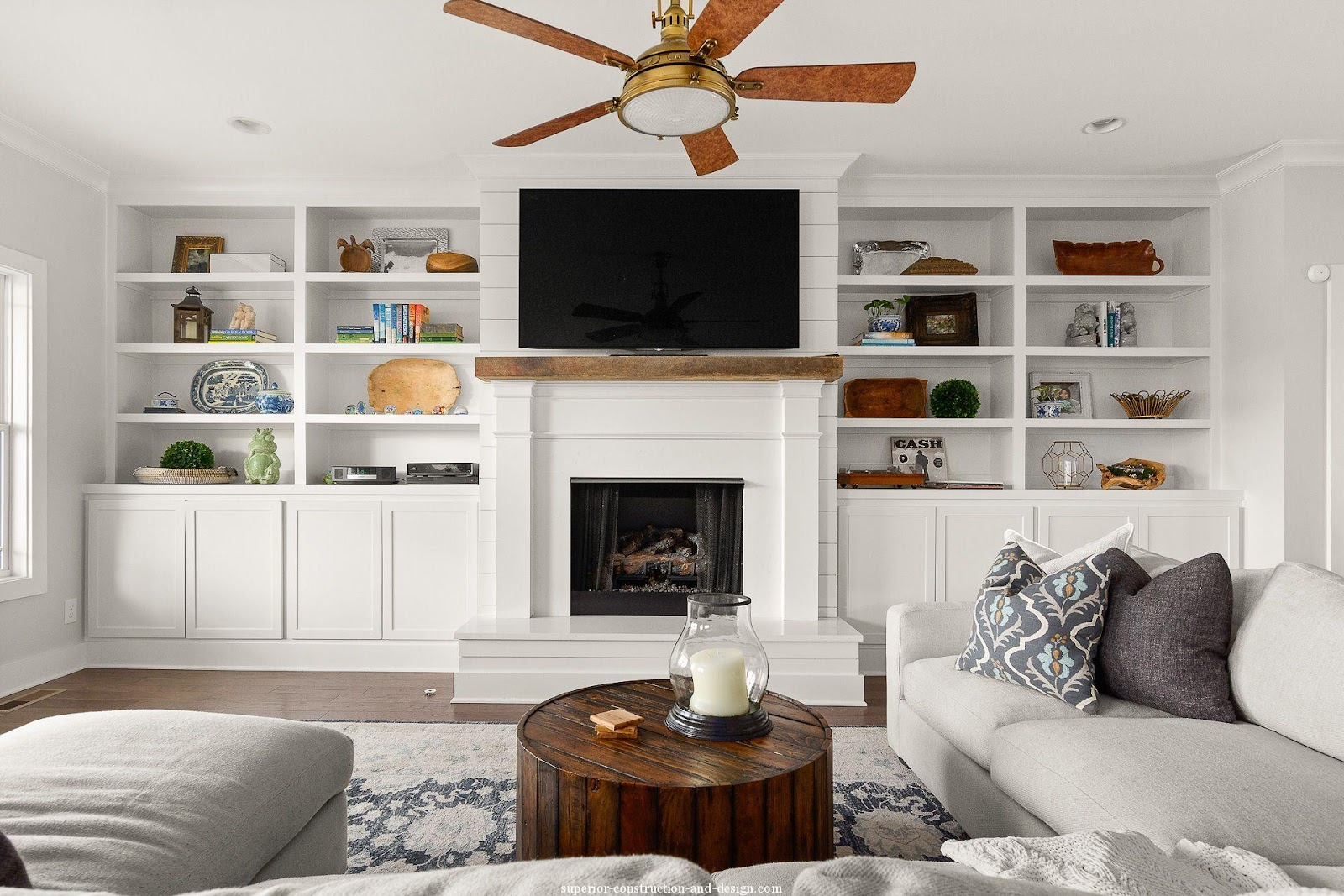 family room sofa built-in decorated with accessories traditional farmhouse twist