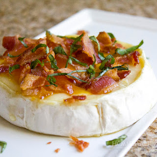 Peach, Basil and Bacon Baked Brie.