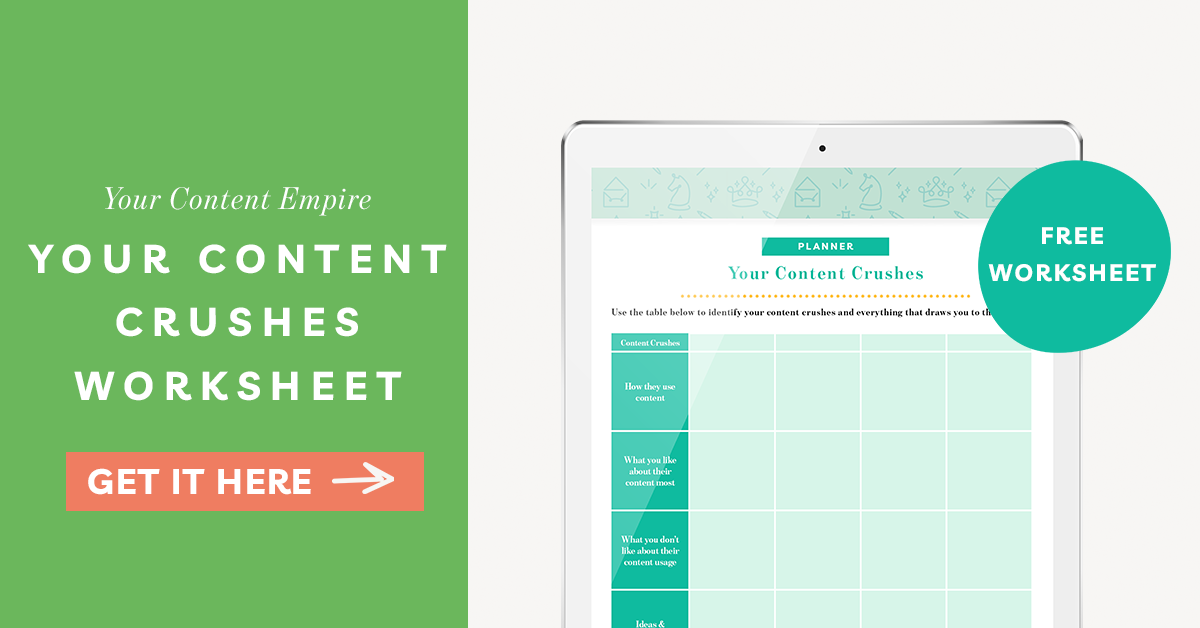 Freebie | Content Crushes Worksheet