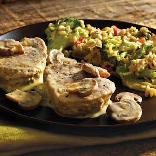Creamy Mushroom Pork with Broccoli Rice Casserole.