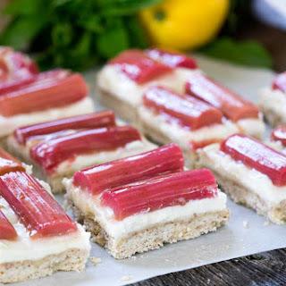 Rhubarb and Honey Whipped Ricotta Shortbread