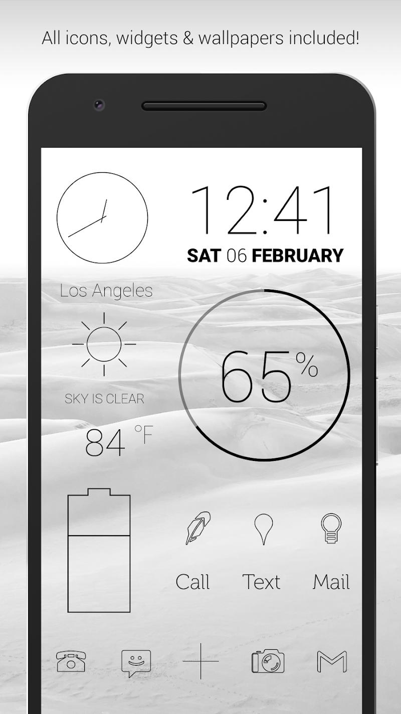 Lines Dark - Flat Black Icons (Pro Version) Screenshot