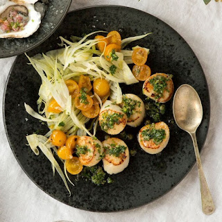 Seared Scallops with Shaved Fennel & Salsa Verde.