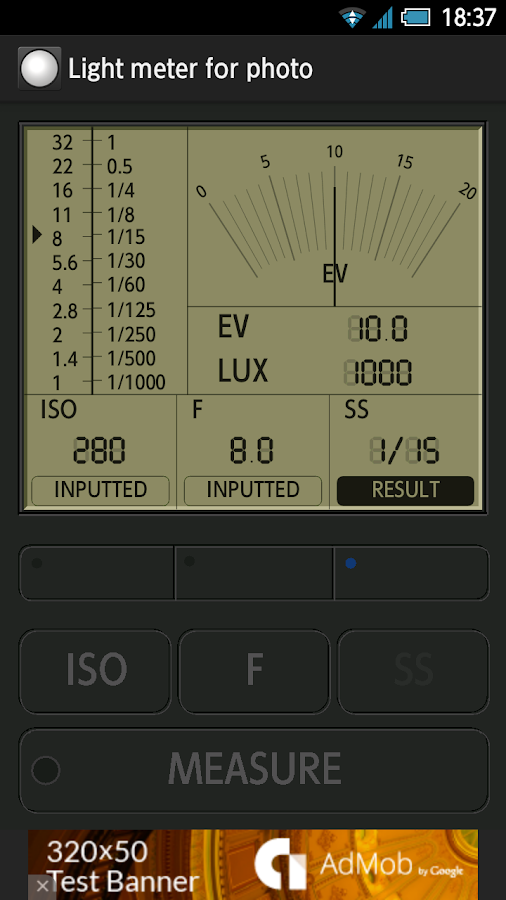 Light meter for photography- screenshot
