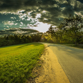 Lost road by Michael Otero - Landscapes Prairies, Meadows & Fields ( clouds, car, gold light, street, road, gold, golden hour, country )