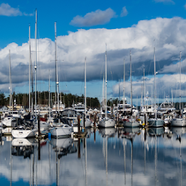 by Keith Sutherland - Transportation Boats ( sidney, fair weather, marina, british columbia, boats, clouds )