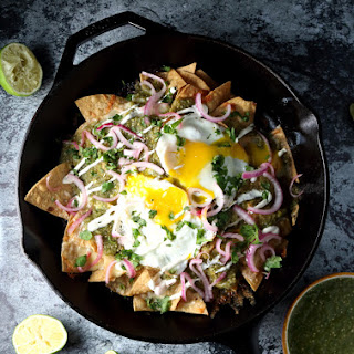 Chilaquiles Verdes with Fried Eggs & Pickled Red Onion