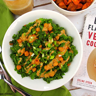Smoky Kale and Chickpeas with Miso Peanut Drizzle from Bold Flavored Vegan Cooking.
