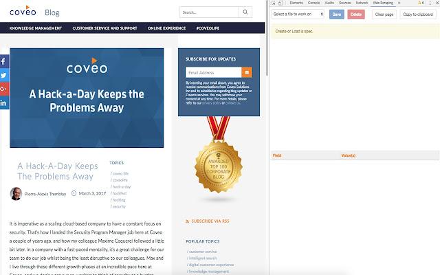Web Scraper Helper for Coveo Web Sources