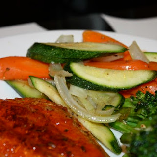 Orange Glazed Salmon and Stir Fried Veggies