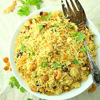 Red Curry Rice with Raisins and Cashews.