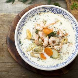 Seafood Chowder with Mussels and Shrimp.