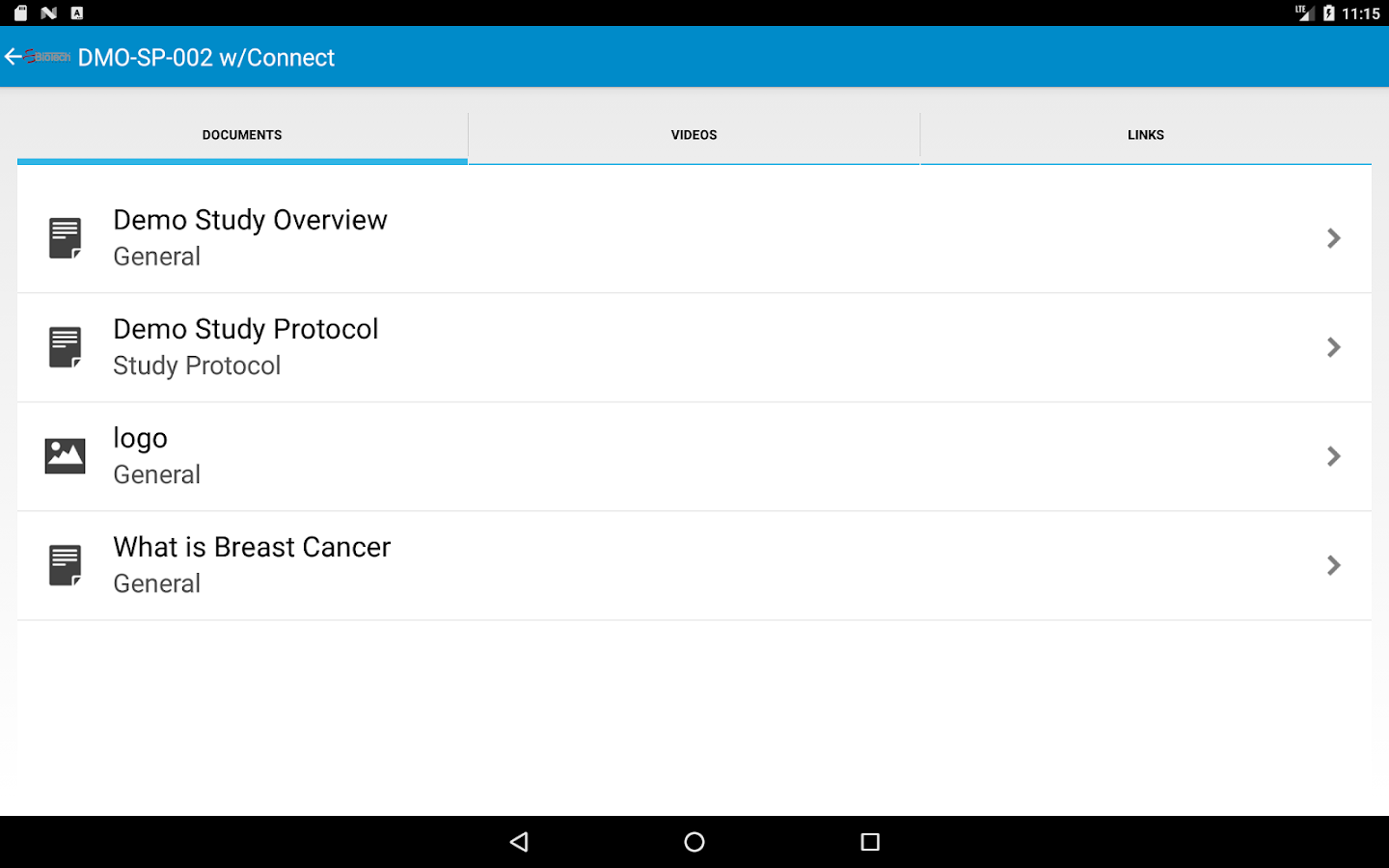 ClinTrialApp- screenshot