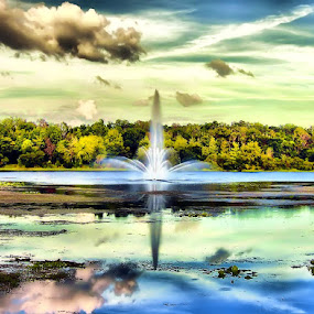 Fountain Reflection by Terry Davey - Landscapes Waterscapes ( fountain )