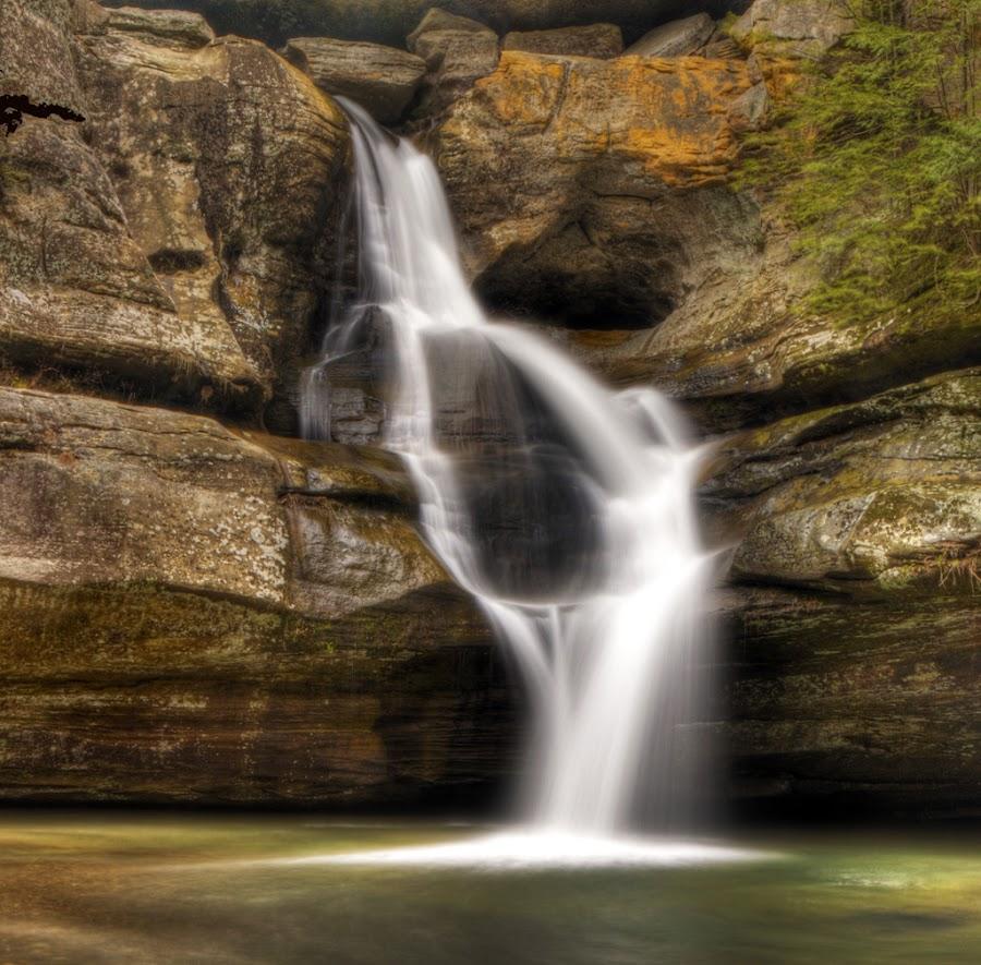 Cedar Falls by Teresa Jack - Landscapes Waterscapes ( water, hills, nature, ohio, falls, waterfall, cedar, waterscapes, hocking, landscape, rocks )