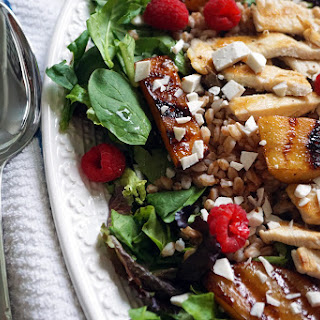 Grilled Chicken, Peach, and Farro Salad