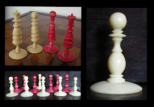 Photo: CH301 A small English bone playing set  The main images of the set can be seen here: https://picasaweb.google.com/mtaxcons/EnglishNonStauntonPlayingSets#5585866731677643538  The top section of the Q's look quite different. The pawns are of varying sizes, thicknesses of stem, and the bases are of different diameters. The pawn on the left has an ivory stem - and features in the large-right hand image.  The stain and general 'impression' of this set are that they may well be original, despite the differences noted. The use of an ivory stem - if original - may also bring into doubt the idea that ivory and bone turning were not undertaken in the same place (this, due to the very unpleasant smell of bone being worked*).  * I tend to discount this, as workers get used to almost anything through exposure, and become blase about it. This is brought home in a report in the Strand magazine from 1895 of a visit to the Royal Gunpowder Factory and especially the sulphur refinery. The quote is given below.