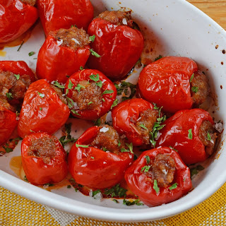 Sausage Stuffed Cherry Peppers.