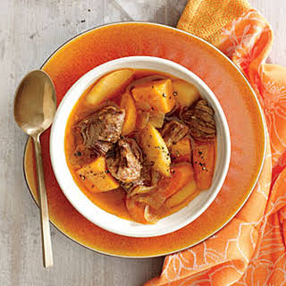 Braised Beef with Onion, Sweet Potato, and Parsnip.