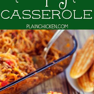 Chili Spaghetti Casserole.