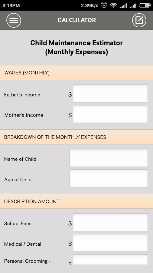 Singapore Divorce Calculator- screenshot
