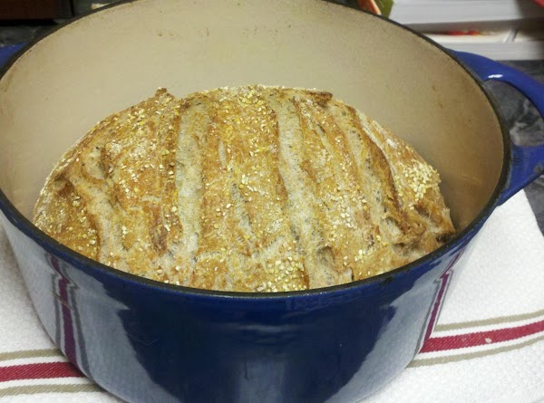 No Knead Bread baked in enameled cast iron dutch oven.