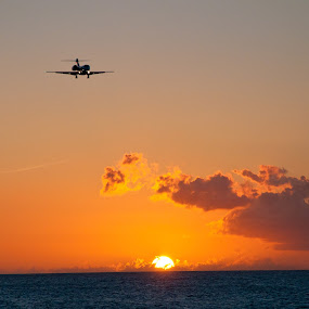 The landing by Dave Reece - Landscapes Waterscapes ( st maarten, philipsburg, juliana airport )