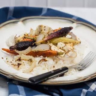 Sheet Pan Mustard Roasted Tofu & Carrots.