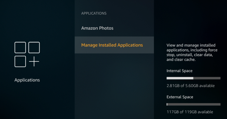 Applications menu; second option, Managed Installed Applications, is selected in yellow with a light gray box.