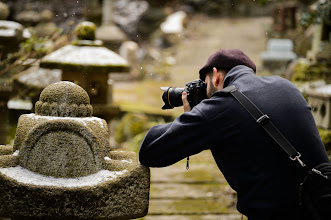 """Photo: This photo appeared in an article on my blog on Feb 9, 2013. この写真は2月9日ブログの記事に載りました。 """"Nishimura Stone Carvers in a Light Snow"""" http://regex.info/blog/2013-02-09/2204"""